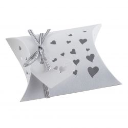 Wedding Favour Box - Pillow Style In White x 5