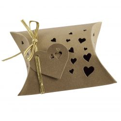 Wedding Favour Box - Pillow Style In Gold x 5