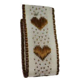 Jacquard Heart Ribbon 15mm x 4m Col: Brown