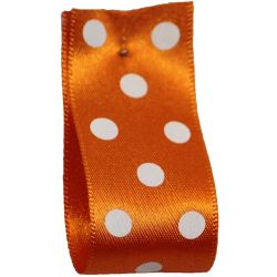 Polka Dot Ribbon By Berisfords Ribbons 15mm  Col: Orange