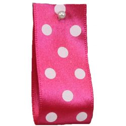 Polka Dot Ribbon By Berisfords Ribbons 15mm Col: Shocking Pink