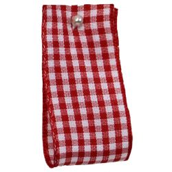 Gingham Ribbon By Berisfords in Red (Colour 15) - available in 5mm - 40mm widths