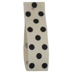 Polka Dot Grosgrain Ribbon 15mm Col: 1