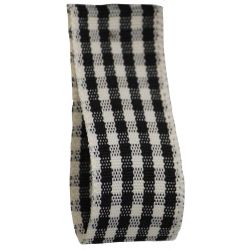 Rustic Gingham Ribbon in Black (Colour 10) - available in 7mm - 25mm widths