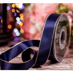 Metallic Gold Edged Navy Ribbon in  25mm