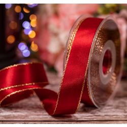 Gold Edged Satin Ribbon In Scarlett Berry