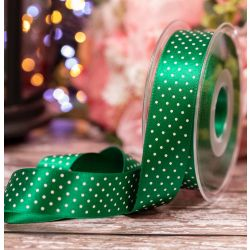 25mm Green Satin Ribbon With White Micro Dot Print