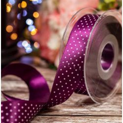 25mm Micro Dot Ribbon Article 5932 Col: Plum