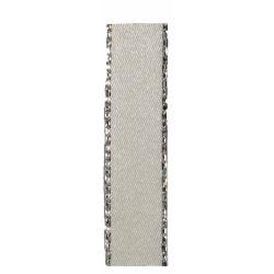 Bridal White Satin Ribbon With Silver Edging 7mm x 20m