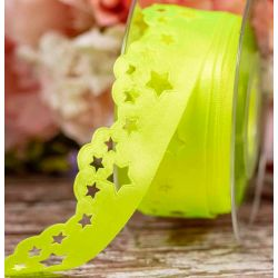35mm Neon Yellow Scatter Star Design Satin Ribbon By Berisfords Ribbons