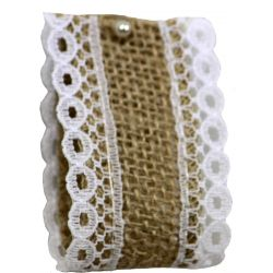Woven Hessian Ribbon With White Lace Edging 36mm x 4.75m