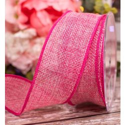 Wired Edged Pink Woven Hessian Ribbon