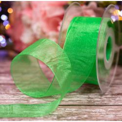 Meadow Green In 40mm Sheer By Berisfords Ribbons