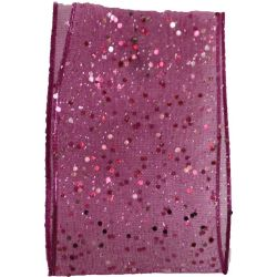 Random Glitter Sheer Ribbon Col: Shocking Pink