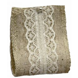 Linen & Lace Ribbon 38mm x 5yrds In ivory With Lace Overlay