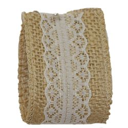 Woven Hessian Ribbon With White Lace Centre 50mm x 4.75m