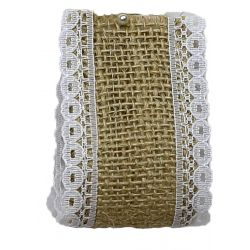 Woven Hessian Ribbon With White Lace Edging 50mm x 4.75m
