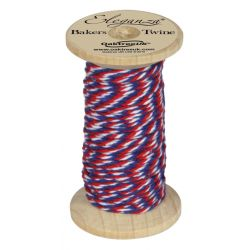 Bakers Twine Wooden Spool 2mm x 15m Red/White/Blue