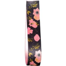 Petal Satin Ribbon in Black with a Pink Floral Design 25mm