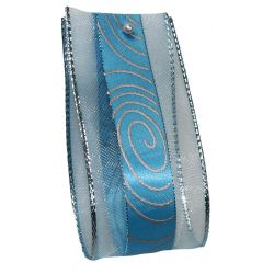 Curls Christmas Ribbon 40mm x 20m - Blue and Silver