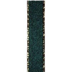 Metallic Gold Edged Forest Green Ribbon in 3mm, 7mm,15mm, 25mm widths