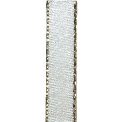 Metallic Gold Edged Bridal White Satin Ribbon in 3mm, 7mm,15mm, 25mm widths