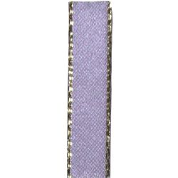 Metallic Gold Edged Lilac Satin Ribbon in 3mm, 7mm,15mm, 25mm widths