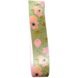 Green Satin Ribbon with a Pink Floral Design 25mm