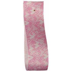 Pink Heart Print Taffeta Ribbon 25mm