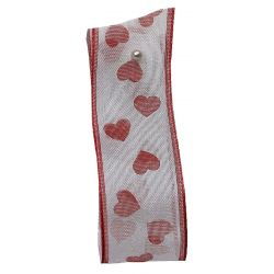 White Sheer Ribbon With Hearts 25mm x 20m