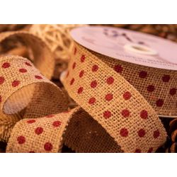 Hessian Ribbon With Red Heart Print