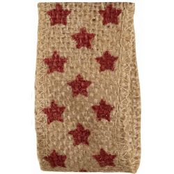 Hessian with red star print
