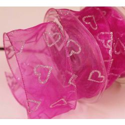 50mm Wired Fushia Sheer Ribbon With Silver Glitter Hearts