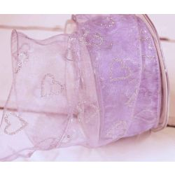 50mm Wired Lilac Sheer Ribbon With Silver Glitter Hearts