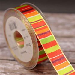 25mm Multi Coloured Striped Ribbon With Wired Edged - Orange, Green Yellow & Red