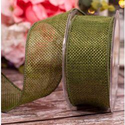 Moss Green 38mm x 10m Hessian Ribbon