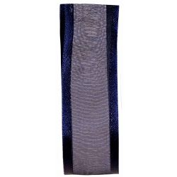 25mm Navy Satin Edged Sheer Ribbon