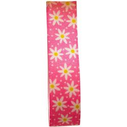 Daisy Chain Ribbon in Pink by Berisford Ribbons 15mm x 20m