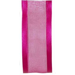 25mm Pink Satin Edged Sheer Ribbon