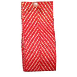 Zig Zag Lame Ribbon in Red 15mm & 25mm.  Art 60170