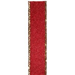 Metallic Gold Edged Scarlet Berry Ribbon in 7mm, 25mm widths