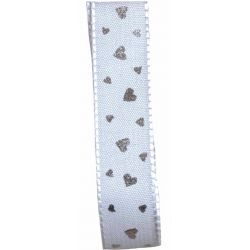 15mm white taffeta ribbon with silver heart design