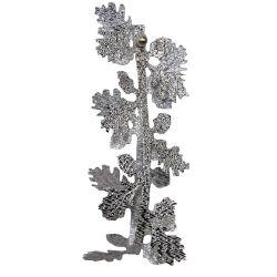 Silver Lame Ribbon With Silver Oak Leaf Design