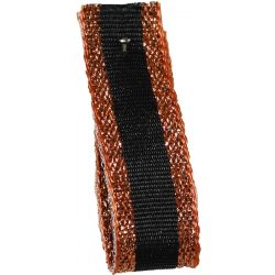 Winter Stripe Sparkling Copper and Black, 10mm Lame Ribbon. Art 60175
