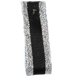 Winter Stripe Sparkling Silver and Black, 10mm Lame Ribbon. Art 60175