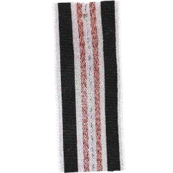 Winter Stripe Sparkling White, Black and Rose Gold  25mm Lame Ribbon. Art 60175