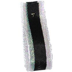 Winter Stripe Sparkling White and Black, 10mm Lame Ribbon. Art 60175