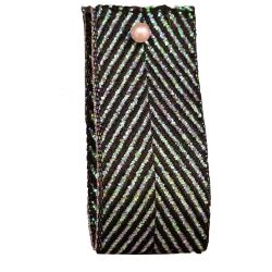 Zig Zag Lame Ribbon Black and Iridescent15mm & 25mm.  Art 60170