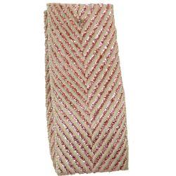 Zig Zag Lame Ribbon Rose Gold 15mm & 25mm.  Art 60170