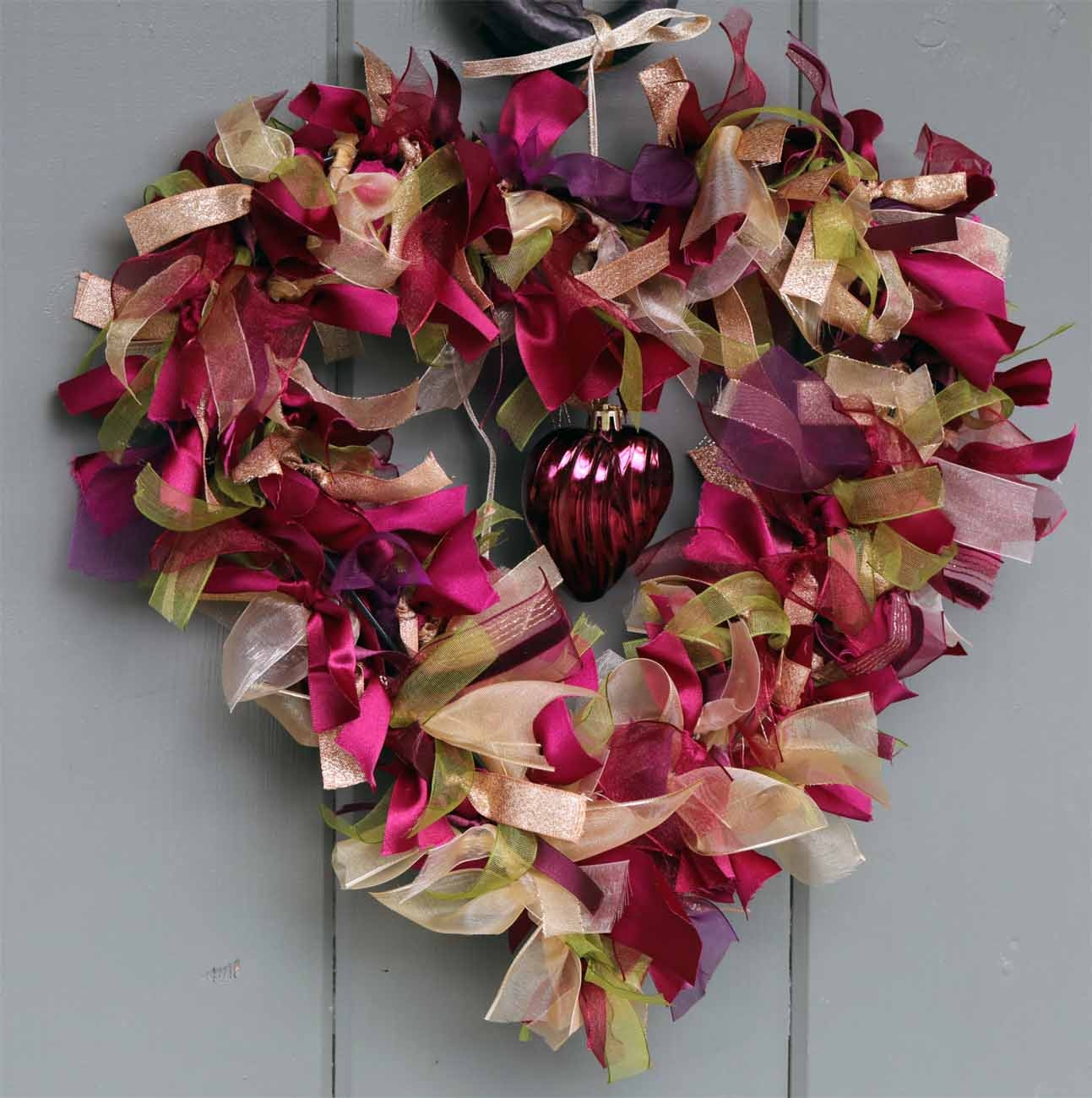 Make Your Own Ribbon Heart Wreath